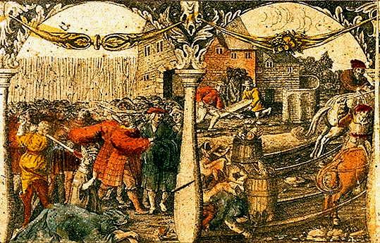 Balra püspököket végeznek ki, jobbra a korábbi királyt ássák ki